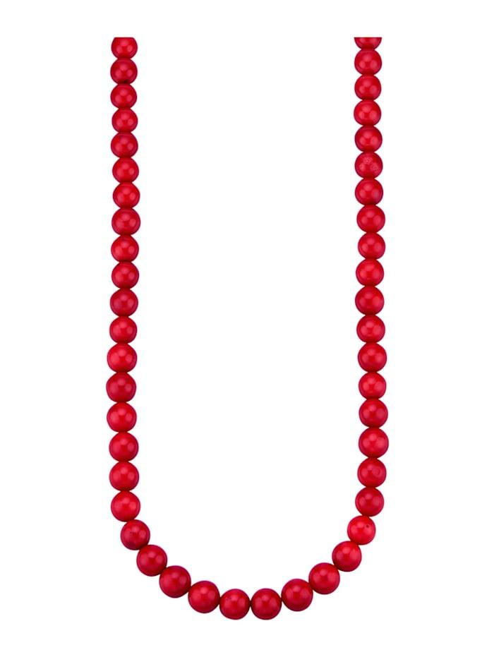 Diemer Farbstein Bambuskorallen-Kette (beh.), Rot