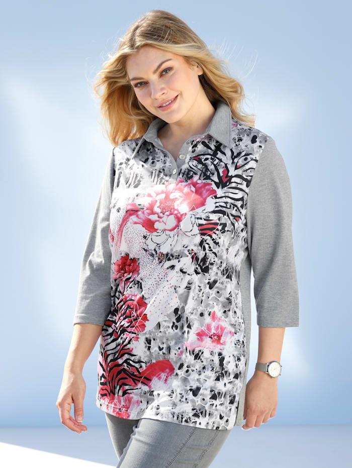 m. collection Poloshirt mit platziertem Druckdesign vorne, Weiß/Schwarz/Koralle