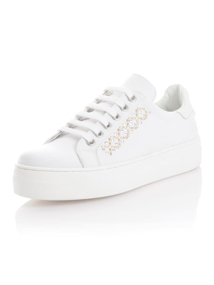 Alba Moda Sneaker mit Schmuckelementen, Weiß
