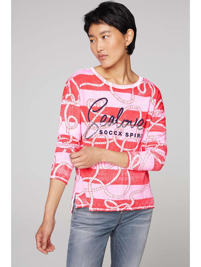 SOCCX Pullover mit Inside Print und Acid-Waschung Pailletten, flashy red