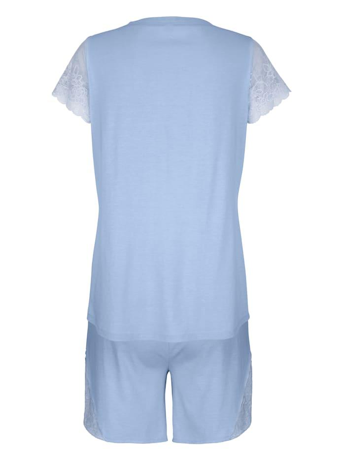 Pyjashort à empiècements en dentelle florale