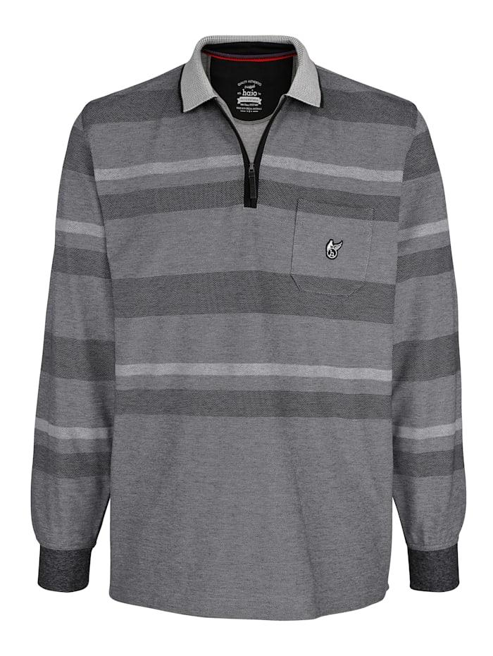 Hajo Poloshirt in Piqué Qualität, Grau/Schwarz