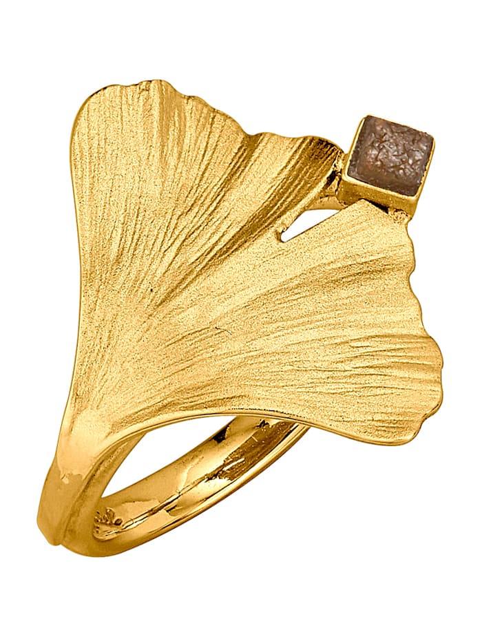 Diemer Atelier Ring Ginkgo met 1 ruwe diamant, Geelgoudkleur