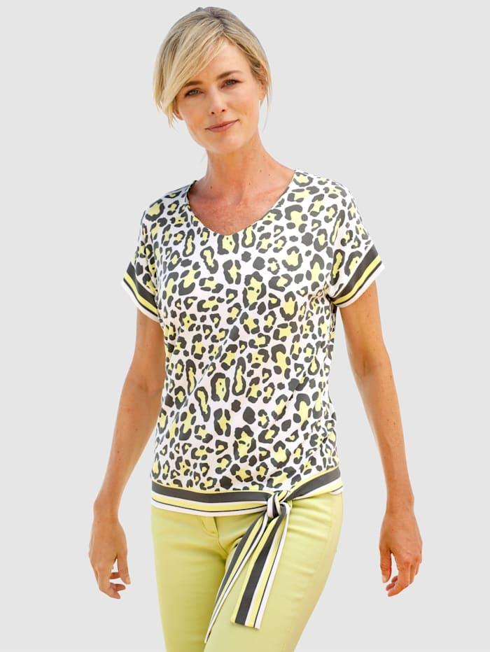 Dress In Shirt met animalprint, Offwhite