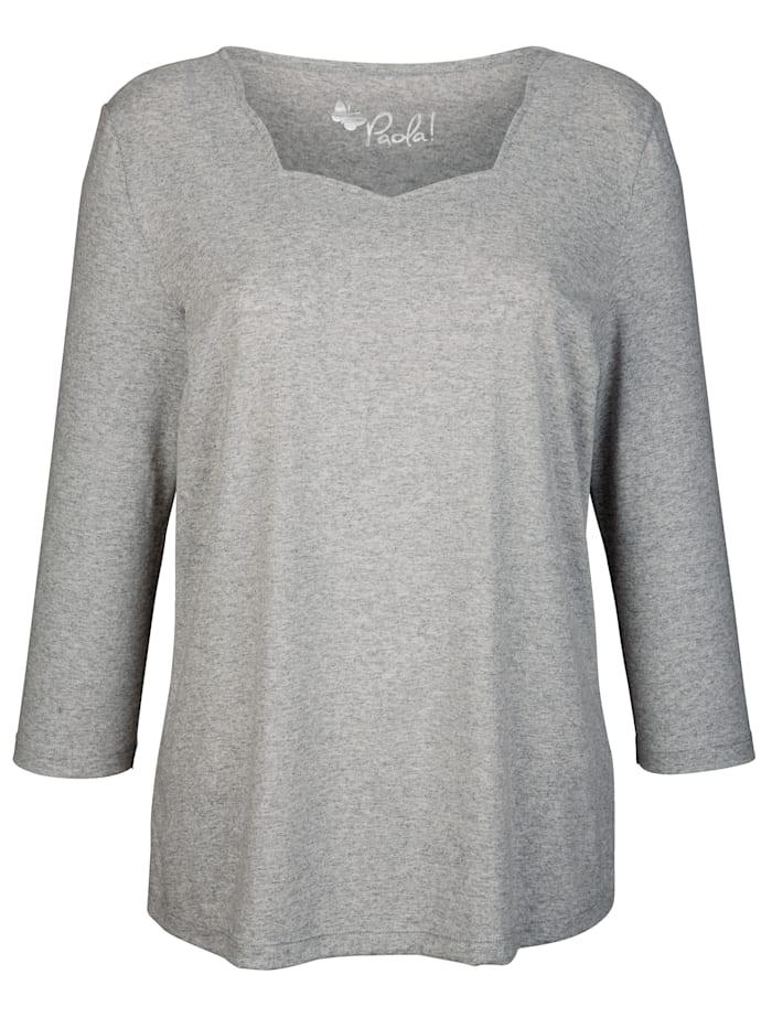 Paola Shirt met aantrekkelijke hals, Grijs