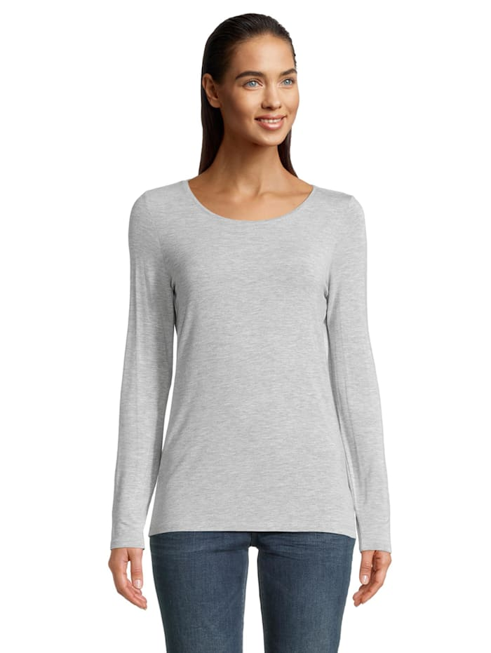 Betty & Co Basic Shirt unifarben, Light Silver Melange
