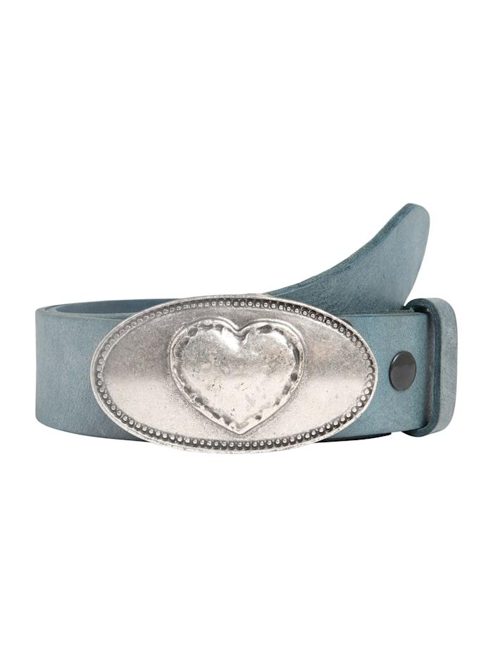 RETTUNGSRING by Showroom 019° Echtledergürtel mit zauberhafter Herzschließe, jeansblau