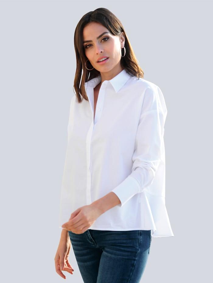 Alba Moda Bluse mit Volants im Rückenteil, Weiß