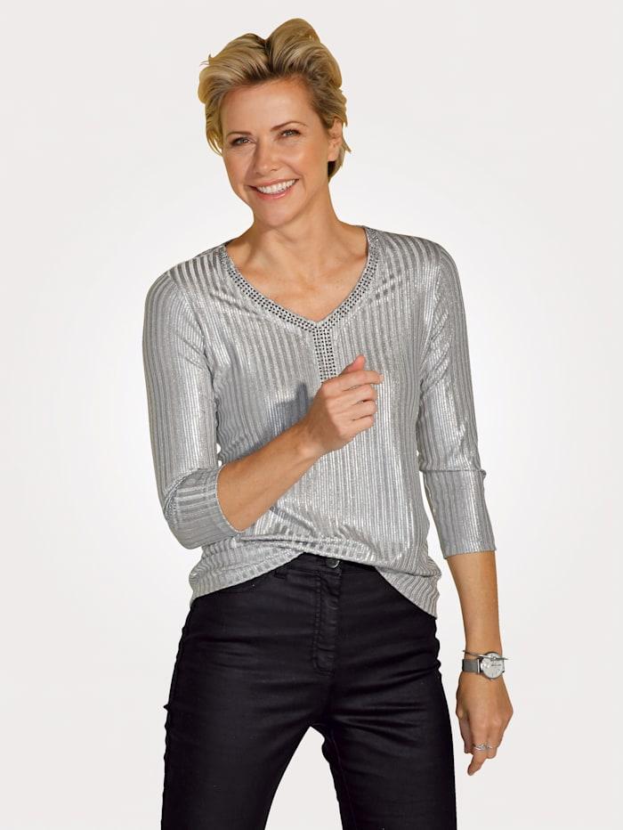 MONA Shirt MitSchimmereffekt, Silberfarben