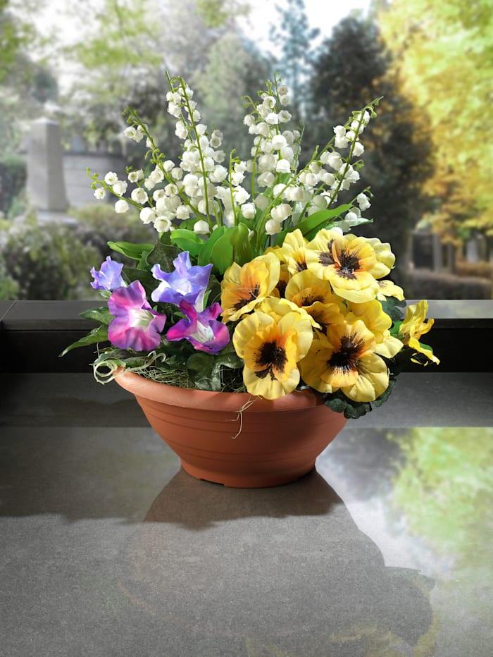 Gravdekoration med petunior, violer och liljekonvaljer, vit/gul/lila
