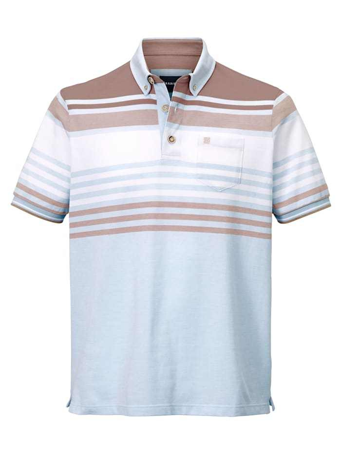 BABISTA Poloshirt met button-downkraag, Blauw/Wit