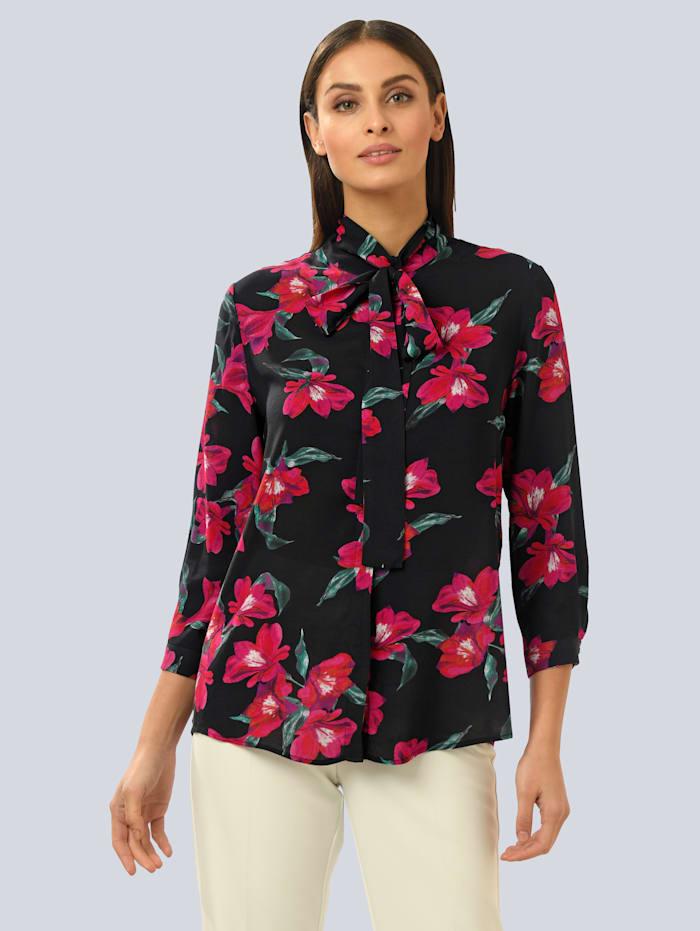 Alba Moda Bluse im floralen Dessin, schwarz-pink