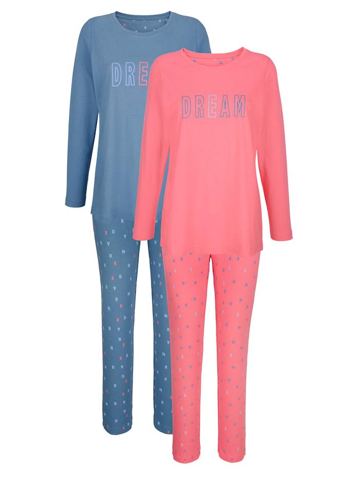 Blue Moon Pyjama met opschrift, Blauw/Koraal