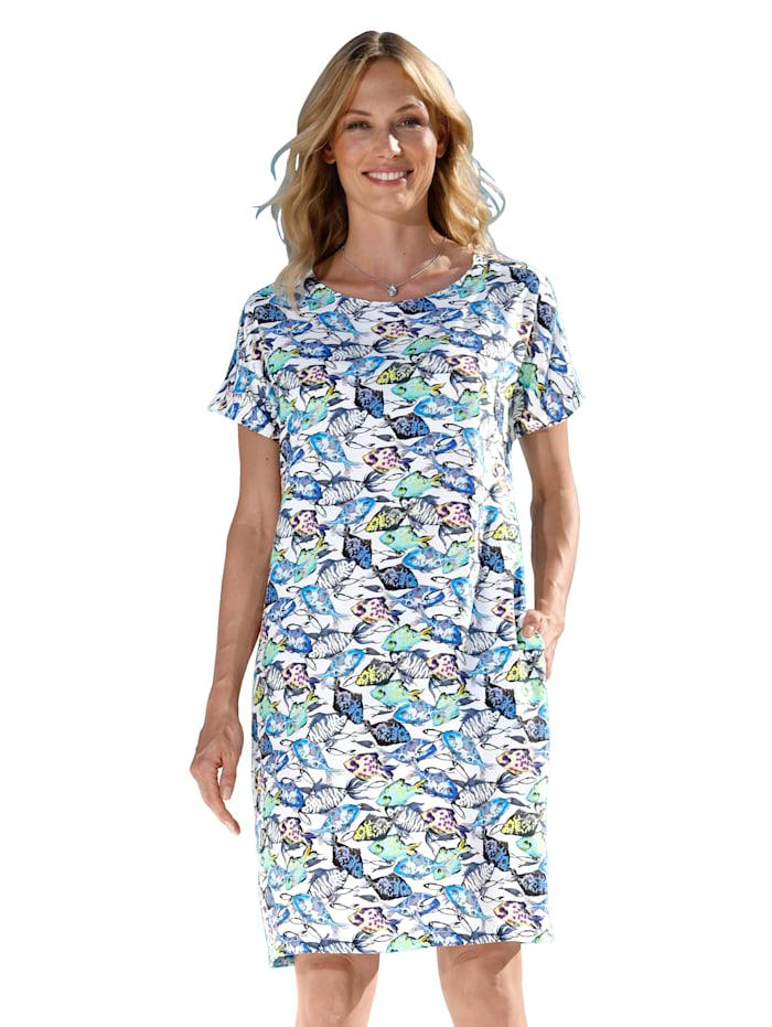 AMY VERMONT Kleid mit Druck, Weiß/Grün/Blau/Grau/Gelb