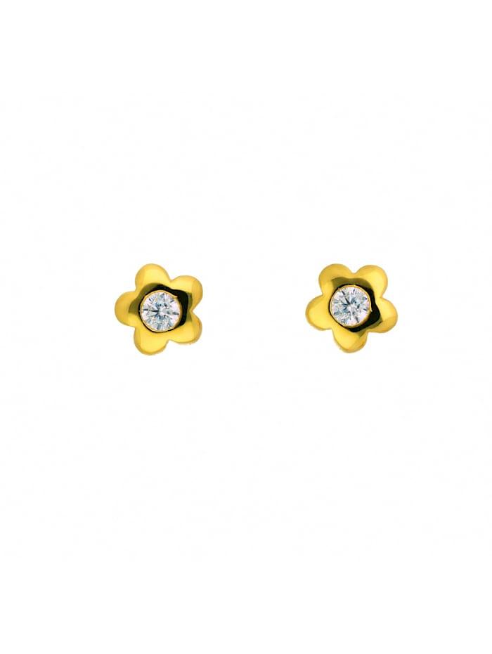 1001 Diamonds Damen Goldschmuck 585 Gold Ohrringe / Ohrstecker Blüte mit Zirkonia, gold