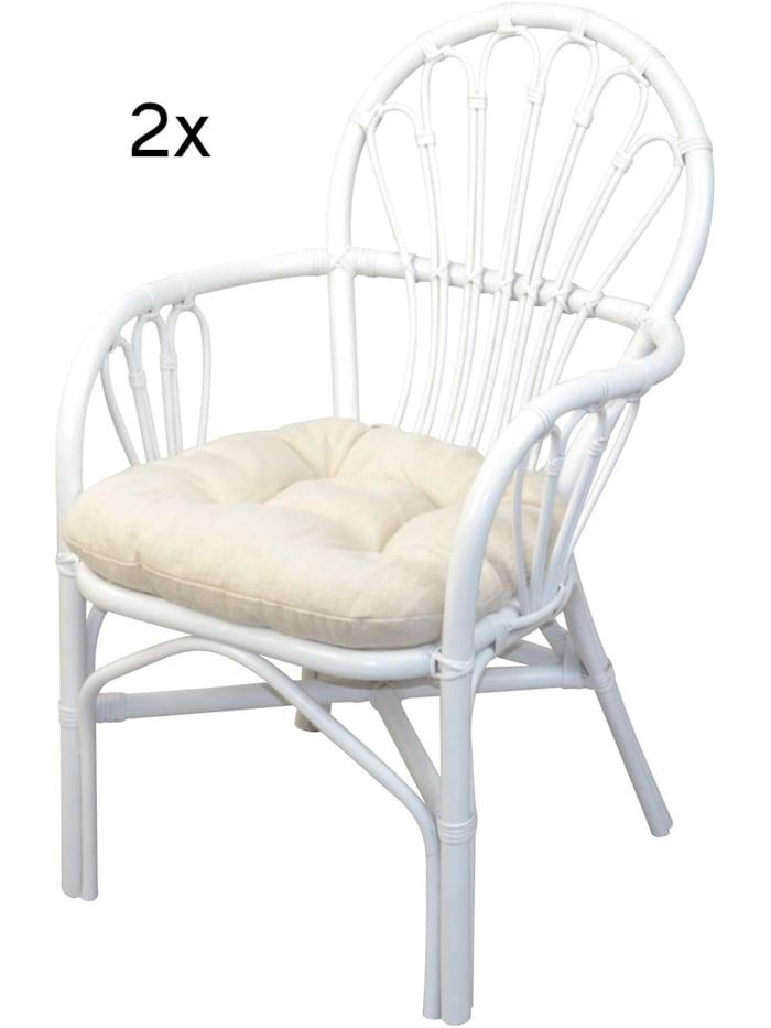 Möbel-Direkt-Online Rattansessel (2Stück) mit Kissen Conny, weiß