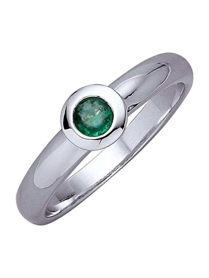 Diemer Platin Damenring, Grün