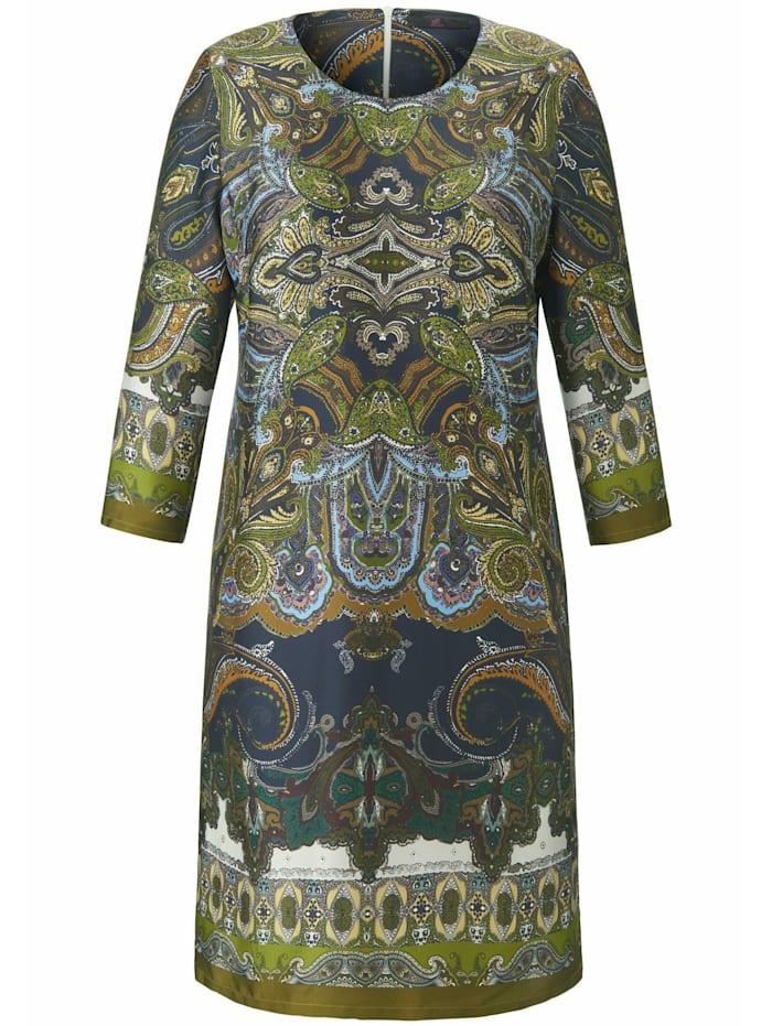 Emilia Lay Abendkleid mit Allover-Muster, grün/multicolor
