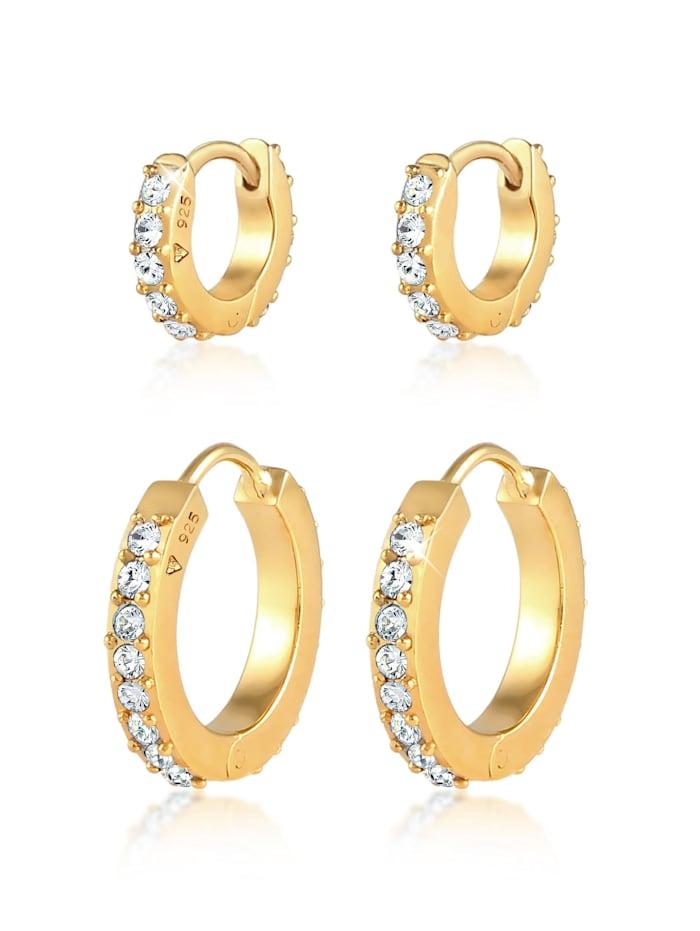 Elli Ohrringe 2Er Set Creolen Kristalle 925 Silber, Gold