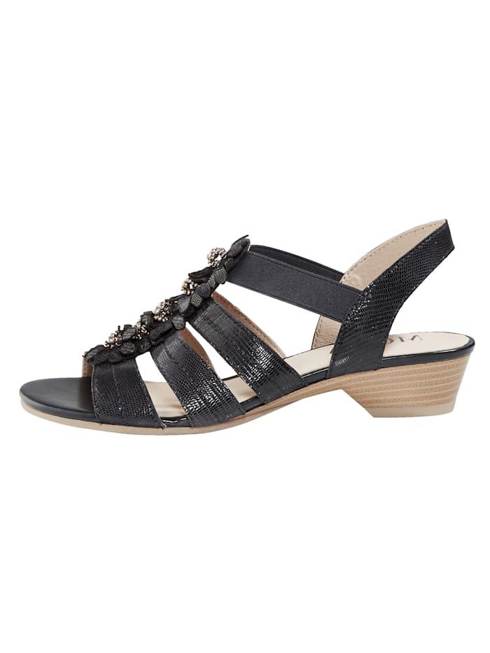 Sandale mit hochwertiger Blütenapplikation