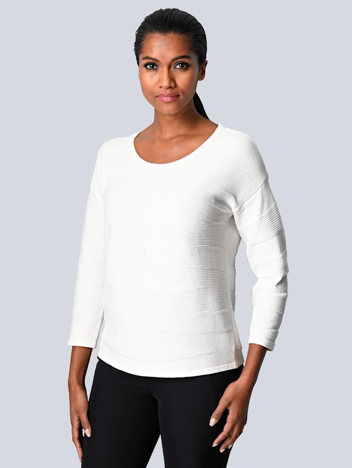 Alba Moda Pullover mit Ton-in-Ton Muster, Weiß