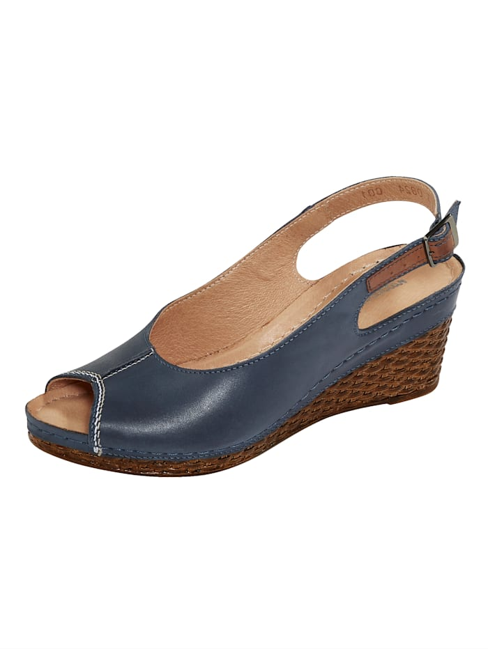 Naturläufer Slingback sandals with wedge heels, Dark Blue