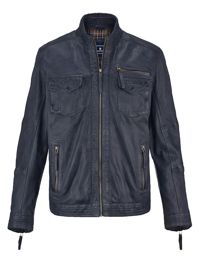BABISTA Leren jas van gekleurd lamsnappa, Blauw