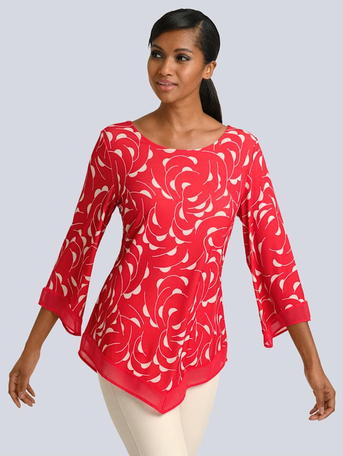 Alba Moda Shirt met zomerse print rondom, Koraal/Wit