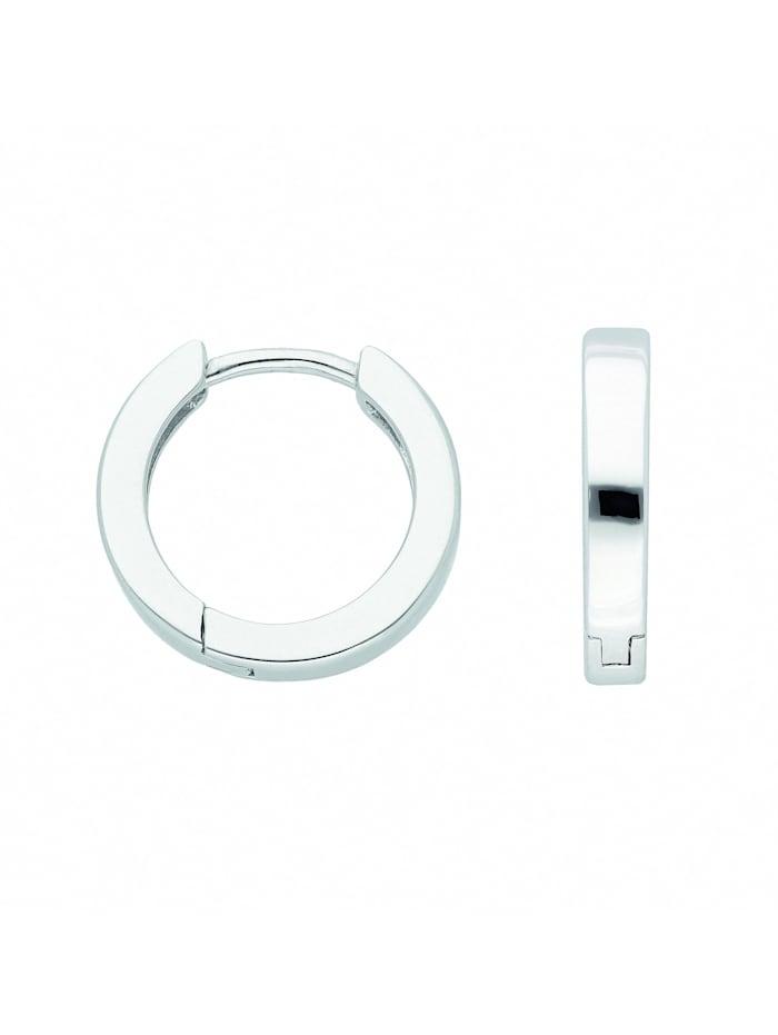 1001 Diamonds Damen Silberschmuck 925 Silber Ohrringe / Creolen Ø 15,2 mm, silber