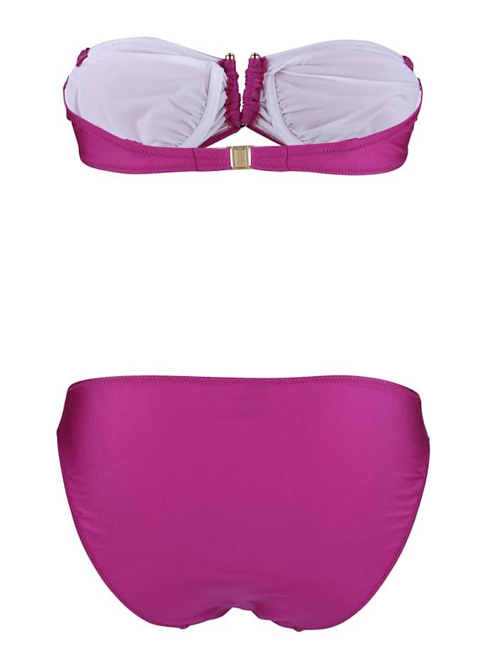 Bikini bandeau en matière légèrement brillante