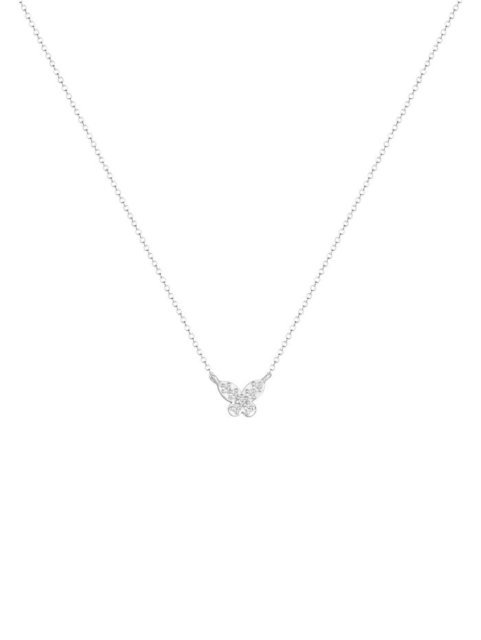 Halskette Schmetterling Diamanten (0.105 Ct) 925 Silber