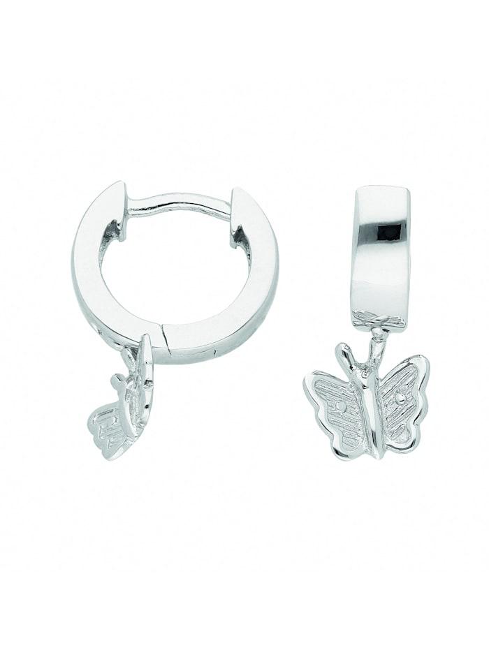 1001 Diamonds Damen Silberschmuck 925 Silber Ohrringe / Creolen Schmetterling Ø 10,9 mm, silber