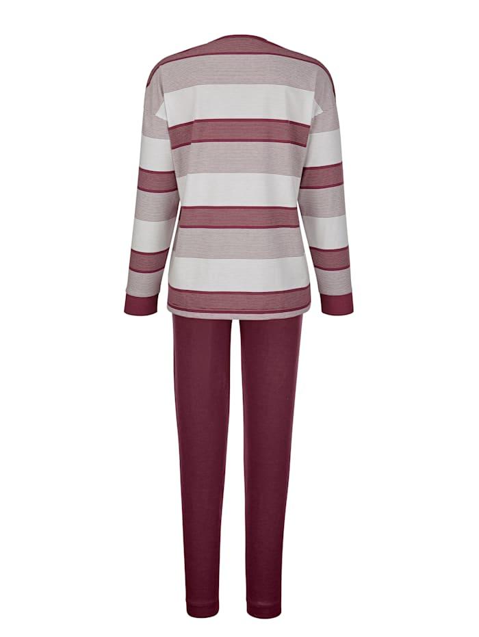Hajo Schlafanzug in hochwertiger Klimafaser-Qualität, Bordeaux/Ecru