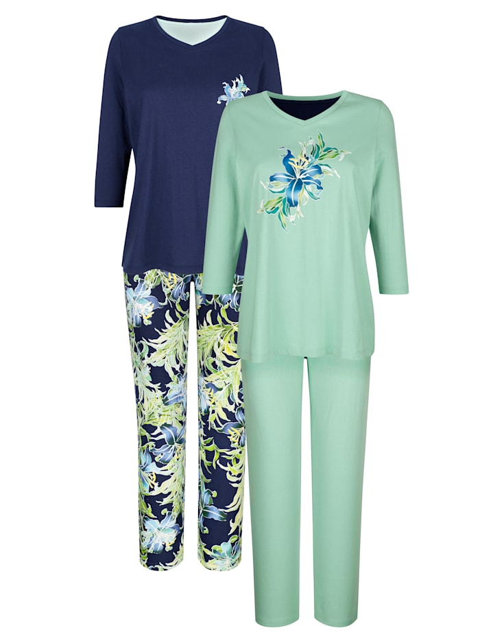Harmony Pyjama's per 2 stuks met bloemendessin, Marine/Lichtgroen
