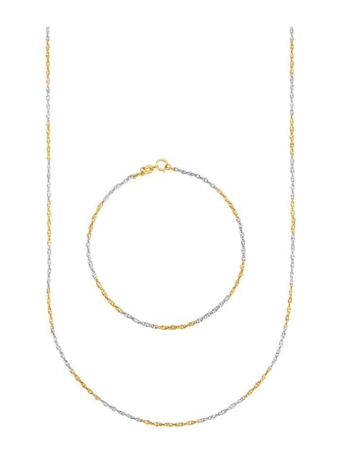 2tlg. Schmuck-Set bicolor, Gelbgoldfarben