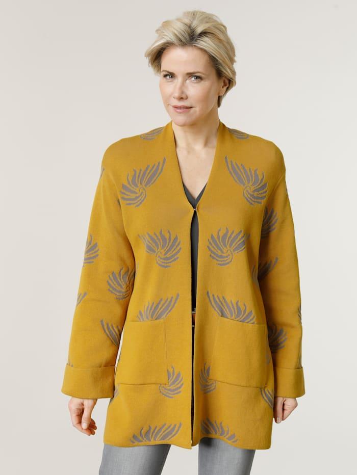 MONA Strickjacke in modischer Kimono Form, Senfgelb/Hellgrau