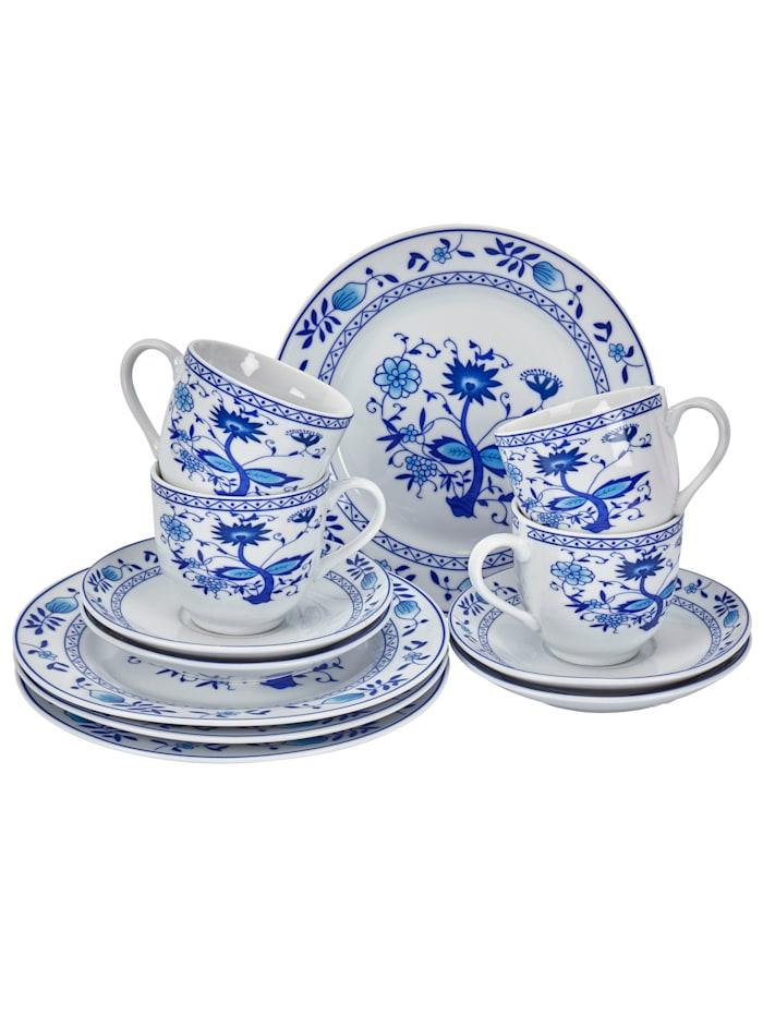 Kaffeservis i 12 delar, vit/blå