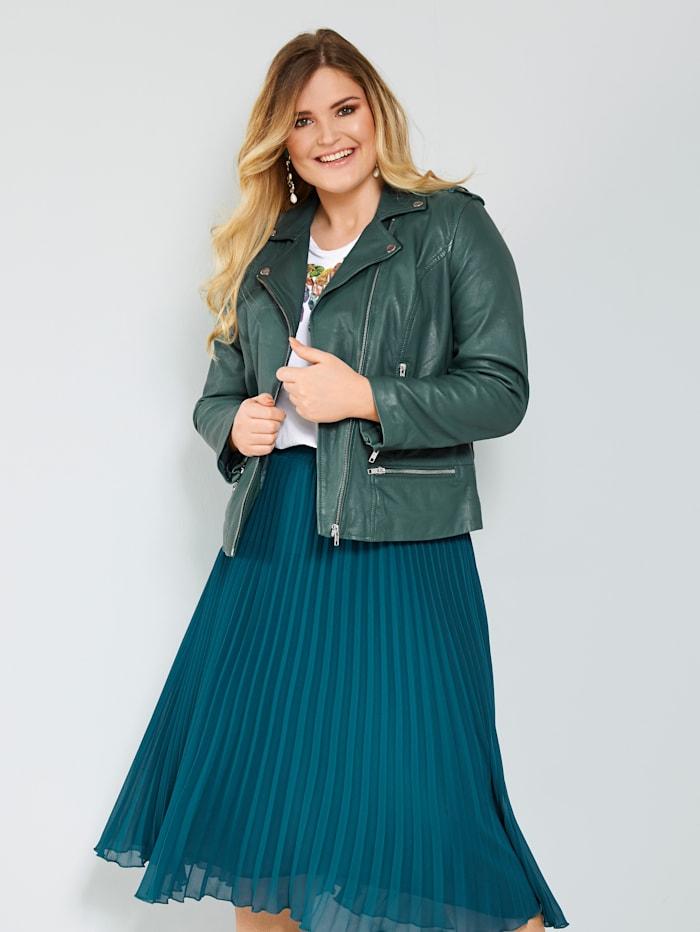 Sara Lindholm Skinnjakke i bikermodell, Flaskegrønn