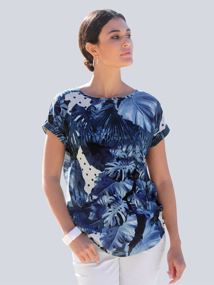 Alba Moda Bluse im floralen Dessin allover, Marineblau/Blau/Weiß