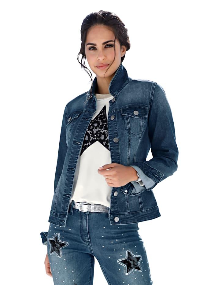 Jeansjacke mit Spitze und Strasssteindekoration