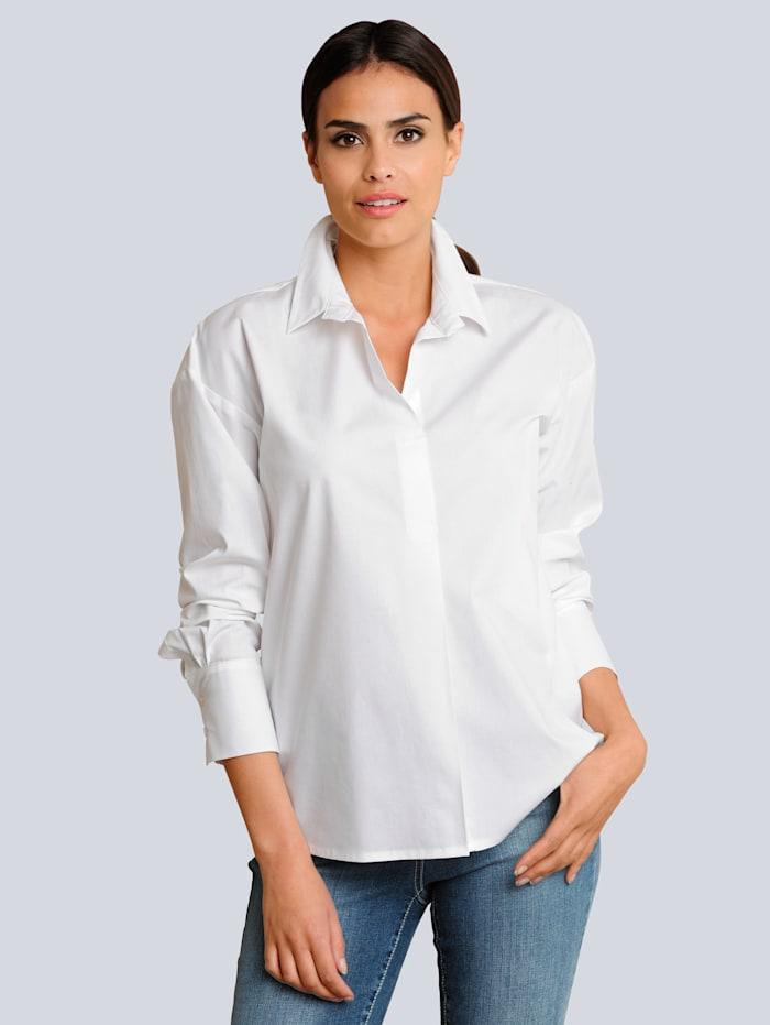 Alba Moda Chemisier dans une matière confortable, Blanc