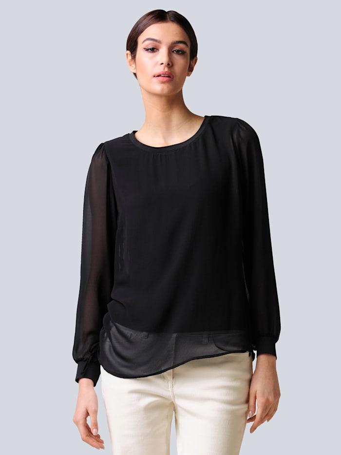 Alba Moda Bluse aus Chiffon-Lagen, Schwarz