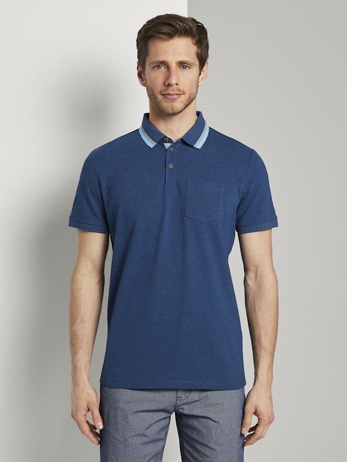 Tom Tailor Poloshirt mit Brusttasche, after dark blue white melange