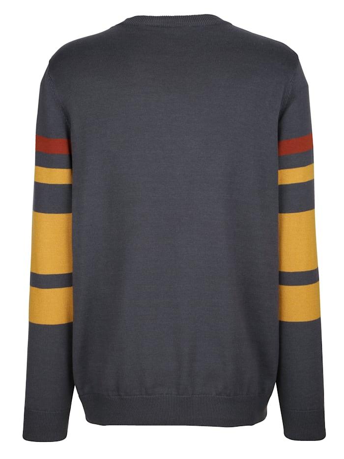 Pullover mit Intarsienmuster im Vorderteil und Ärmel