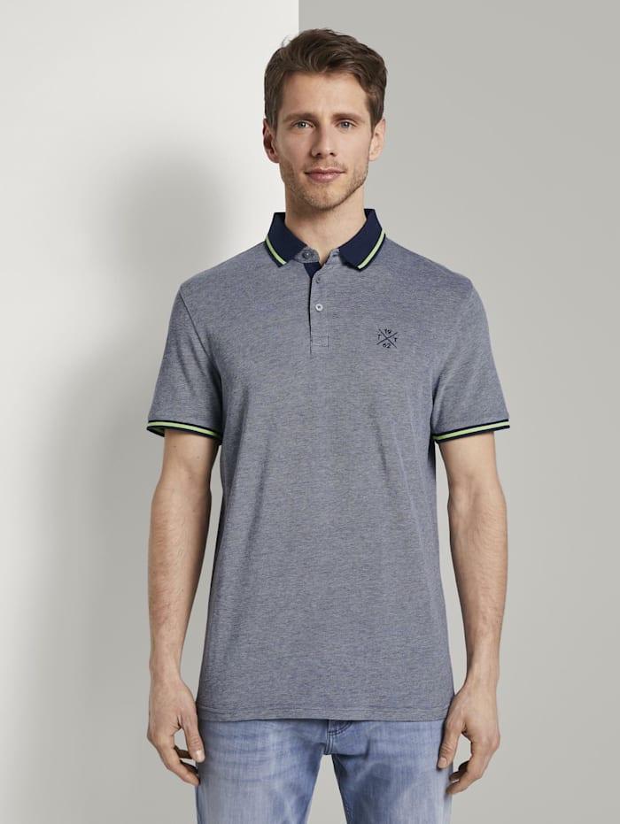 Zweifarbiges Poloshirt mit Kontrastblende