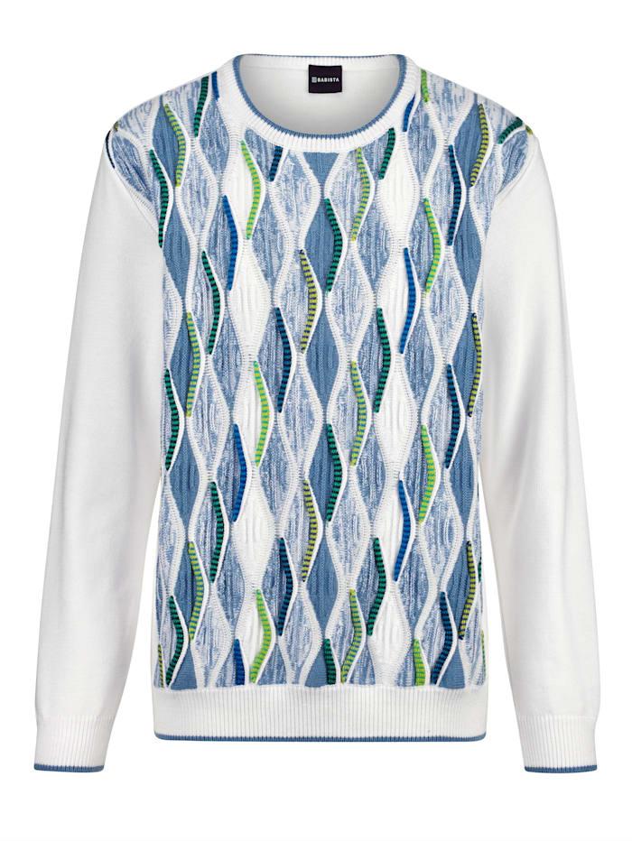 BABISTA Pullover mit aufwändiger Relief-Verarbeitung, Weiß/Blau