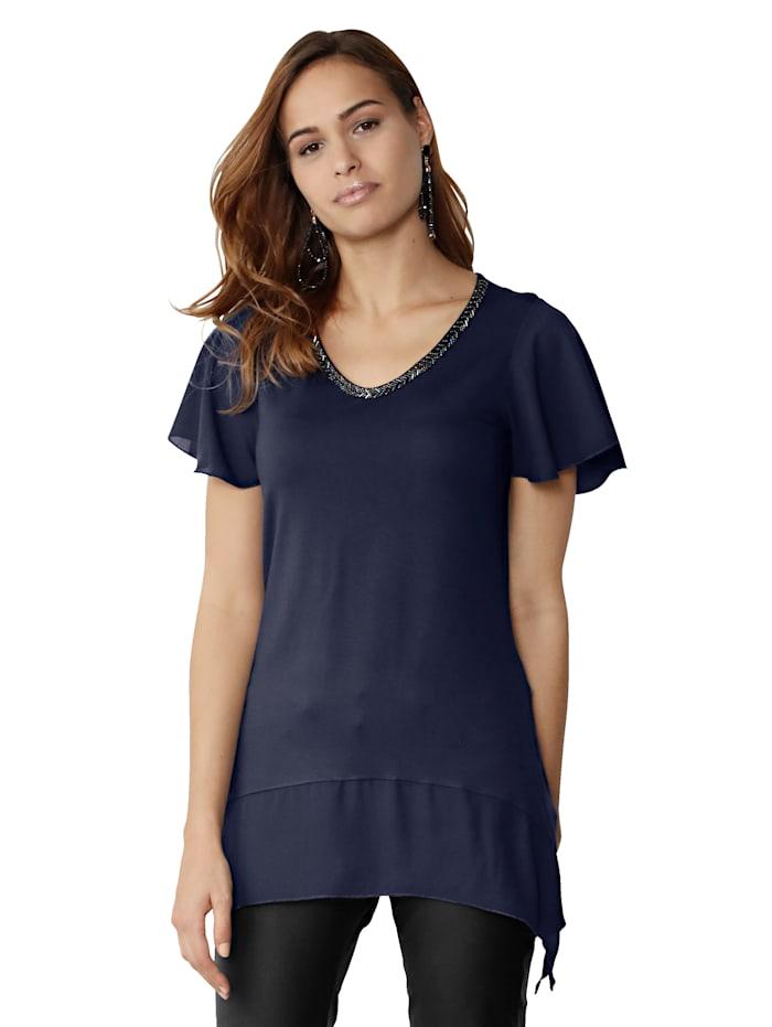 Shirt mit Chiffonbesatz an Ärmel und Saum