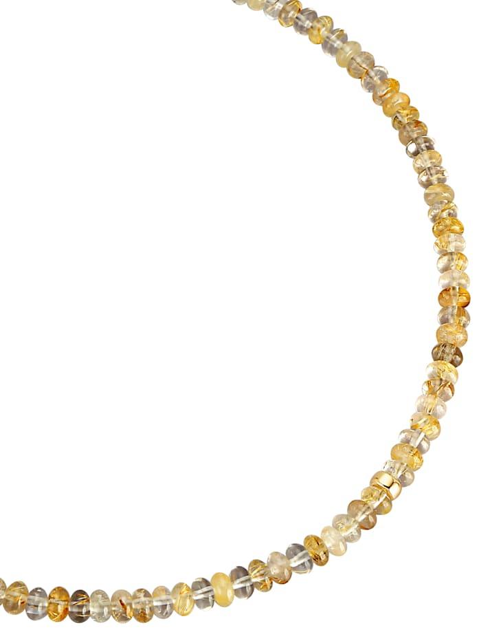 Diemer Farbstein Halskette aus Rutilquarz-Rondellen, Multicolor