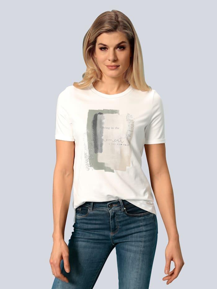 BRAX T-Shirt mit farbharmonischem Motiv, Creme-Weiß