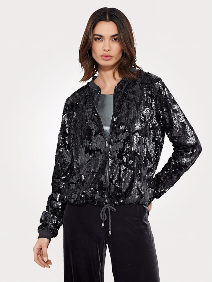 Artigiano Bomber jacket with shimmering sequins, Black